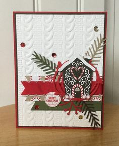 Stampin Up handmade Christmas card - gingerbread house with pretty pines