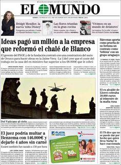 Los Titulares y Portadas de Noticias Destacadas Españolas del 1 de Marzo de 2013 del Diario El Mundo ¿Que le parecio esta Portada de este Diario Español?