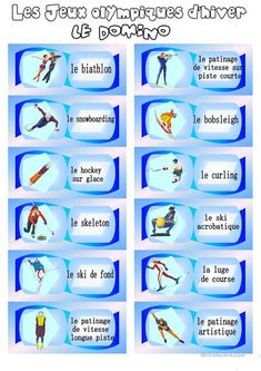 Les Jeux olympiques d'hiver - Français Fle Fiches Pedagogiques Olympic Games For Kids, Olympic Idea, Bobsleigh, Kids Olympics, Winter Olympics, Language Activities, Literacy Activities, French Practice, Social Studies Projects