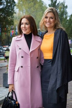 Dutch Queen Maxima and Danish Crown Princess Mary at 3rd World Conference of Women's Shelters in the World Forum in The Hague on November 4, 2015