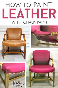 I purchased this leather chair on FB Marketplace for $70!! I couldn't wait to give it a refresh look using Dixie Belle's hot pink Peony paint. Now this painted leather chair is the perfect addition to a feminine home office. Head over to my furniture painting blog for all the how-to details including how to prep leather furniture and what product I used to seal the paint. You'll also want to see how I painted the back of the chair with one of my signaure whimsical patterns! Check it out!