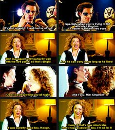 "Great screencaps with quotes from Matt and Alex on ""Doctor Who Confidential"" about the Doctor Who episode ""The Wedding of River Song""."