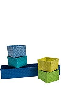 This woven plastic divisional utility baskets with removable compartments are great to store your goodies. Waterproof and easy to clean. This is perfect to store my son's toys