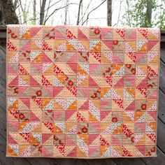 Girls Half Square Triangle Baby/Toddler/Stroller Quilt - Boho Collection - Red, Orange, Brown