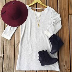Who doesn't love to be cute and cozy?! This dress is perfect paired with one of our hats and some @toms wedges! #jackclothing #hats #toms #kendrascott #fallfashion #cozy #essentials #instafashion #shoplocal