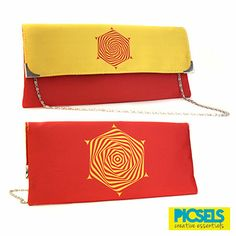 Psychedelic Flower clutch: Yellow & Red. For details and orders please email us at picselsce@gmail.com