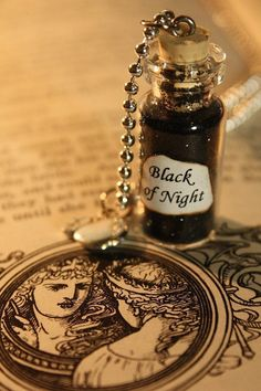 Snow White Necklace - Glass Vial Necklace - Fairy Tale Inspired - Black of Night - Halloween Necklace