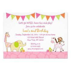 Pink Safari Jungle Animal Birthday Invitations