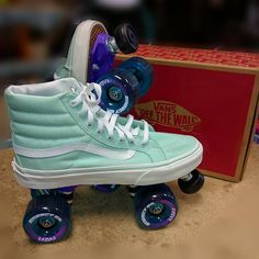 Another pair of #Vans #Sk8Hi sneaks mounted up as #skates these ones get a custom #metal #aluminum insole to stiffen up the setup. #SureGrip #Rock plates hold on to #Radar #Energy wheels spinning on #Qube #Teal bearings. #custommount #supportyourlocalskateshop #rollerskating #rollerskates #skatepark #chicksinbowls by empireskatesupland