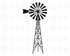 Farm Windmill SVG, Farm Svg, Farm Windmill Clipart, Farm Windmill Files for Cricut, Windmill Cut Fil Windmill Drawing, Windmill Tattoo, Farm Windmill, Windmill Wall Decor, Windmill Decor, Diy Ribbon, Ribbon Crafts, Old Windmills, Old Country Churches