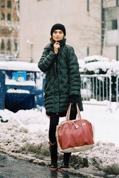snow day! #MariyaMarkina all rugged up #offduty in NYC. #VanessaJackman
