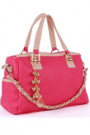 Fashion Pink Chain Metal Handbag