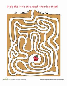 First Grade Mazes Worksheets: Ant Maze