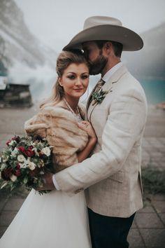 Kenneth and Lydia's snowy vows in Alberta, Canada - Winter Wedding Inspiration - Cowboy Wedding Inspiration<br> Cowboy Wedding Attire, Wedding Tux, Dream Wedding, Cowboy Weddings, Wedding Suite, Barn Weddings, Wedding 2017, Outdoor Weddings, Country Weddings