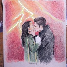 """Drawing of Grant Gustin as Barry Allen aka Flash and Candice Patton as Iris West in """"The Flash"""" CW Serie Comics Draw dessin sketch artwork pencils pastel O Flash, Flash Arrow, Barry Iris, Iris West Allen, Candice Patton, Fastest Man, You're My Favorite, Supergirl And Flash, Geek Culture"""