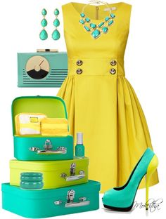 """""""50's Retro Yellow and Turquoise Outfit"""" by mokeitha ❤ liked on Polyvore"""