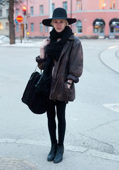 """""""I'm wearing second hand with an Acne dress and Nilson shoes.  Lately I've started to like hats – they make boring winter outfits a bit more interesting. Black and layers work, too."""""""