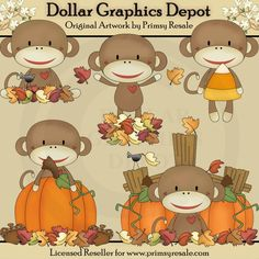 Fall Sock Monkeys Clip Art Set, by Primsy Resale - $1.00 : Great for autumn greeting cards, gift boxes / bags, gift tags, labels, scrapbook pages, iron-on transfers, window decals, candy bar wrappers, embroidery patterns, and much more! www.DollarGraphicsDepot.com