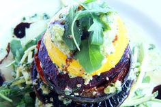 Vegetable Stack with Zucchini Pesto Spaghetti. So easy, so pretty, so yummy! http://www.theroadnottaken.com.au/#!vegetable-stack/ctuf
