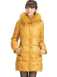 Yellow Fur Collar Zipper Polyester Woman's Overcoat