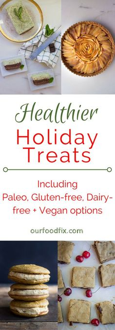 Don't sacrifice all your health goals, or those flavors you love, by making the wrong holiday desserts. Find healthier versions of all the classics, plus kid friendly, and allergy friendly options for everyone in this recipe roundup. Christmas Food Treats, Christmas Desserts, Holiday Treats, Holiday Recipes, Christmas Recipes, Xmas Food, Christmas Goodies, Christmas Holiday, Paleo Dessert