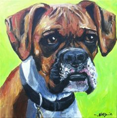 boxer dog pet portrait painting by Anna Woerman