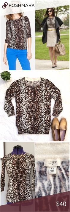 J.Crew Leopard Tippi Sweater • 3/4 Sleeves The sweater you'll wear with everything - J.Crew's classic Tippi sweater, now in a bold leopard pattern! (Think of it as your go-to for FIERCE style!).  Three-quarter sleeves.  Rib trim at neck, cuffs and hem. Amazing neutral piece for fall and winter that's lightweight enough to carry you into spring!   J. Crew Size XS. 100% Cotton. J. Crew Sweaters Crew & Scoop Necks