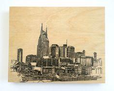 Wood Wall Art Panel Nashville Skyline Cityscape Art on Wood