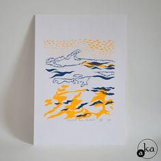 Vagues, une sérigraphie sur papier de l'atelier Aka