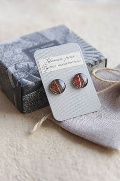 Real leaf stud earrings resin jewelry with brown por UralNature