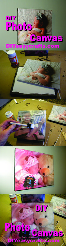 DIY easy Photo Canvas Art.Easy DIY (Do it Yourself) Photo Canvas. We use images printed from your home computer and standard size canvas available at any local art supply store. The finished product look spectacular and can be wall hung or self standing on any shelf. Check us out on the web www.DIYeasycrafts.com