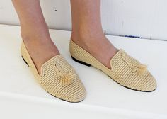 Our Moroccan Raffia Loafers are made from Raffia grass that is grown in Madagascar and then imported to the seaside town of Essaouira on the west coast of Morocco. Local women in Essaouira treat and dye the raffia grasses before weaving them into our shoes. Moroccans believe that the natural