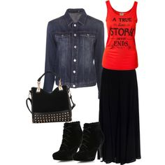 Cute casual fall maxi skirt outfit