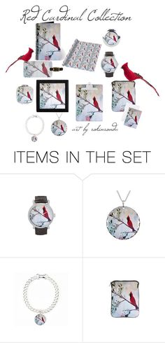 """Red Cardinal"" by artist-rhonda ❤ liked on Polyvore featuring art"