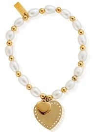 ChloBo GOLD MEDIUM PEARL MINI PLAIN & PIN PRICK HEARTS BRACELET