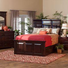 Lodge Queen Storage Bed, Dresser, Mirror U0026 Nightstand In Mahogany