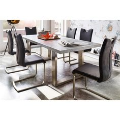 Savona 220cm Rectangular Dining Table In Grey With Stainless Steel Legs8 Pavo Swinging Antik Faux Leather Dining Chair With Handle Hole Finish:wood Grey finish sealed (stone look) And PU Leather Ch...