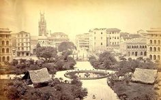 Bombay:1869-View of Elphinstone Circle from Town Hall which was laid out on site of old Bombay Green #Mumbai pic.twitter.com/lklgXDVehG