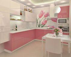 Bucatarii roz: cele mai frumoase interioare, elegante, dulci si atractive / Faianta cu lalele roz in bucatarie sursa: http://www.renovat.ro