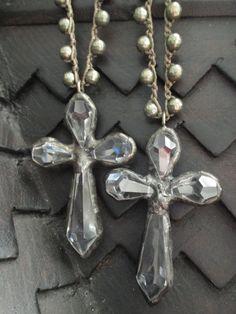 Crystal cross crochet necklace  Shine On  neutral by slashKnots