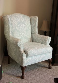 reupholstered wingback chair - pretty damask fabric via: delightingintoday.com