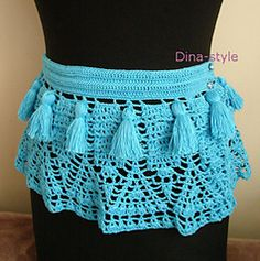 Crochet, tribal belly dance belt/skirt - pattern available with English translation. (Possibly from PNW? She said she was inspired by the Cascades.)