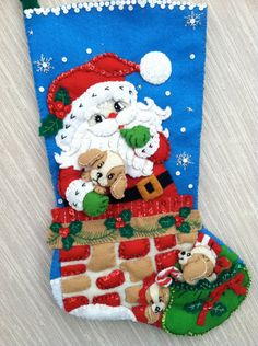 Santa's Secrets Completed Handmade Felt Christmas Stocking from Bucilla Kit on Etsy, $70.00