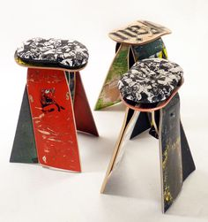 Deckstool takes broken skateboards harvested from skateshops and skateparks accross the US and creates furniture