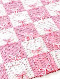 Free Crochet Heart Strings Afghan Pattern.