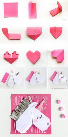 Unicorn Valentine's Day Cards and Unicorn Bookmarks - Cute ideas - Origami Valentines Bricolage, Kinder Valentines, Valentine Day Cards, Valentines Diy, Unicorn Valentine Cards, Unicorn Diys, Unicorn Crafts, Diy Origami, Oragami