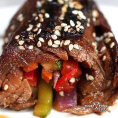 Teriyaki roll up flank steak Dinner Roll-Ups 4 Ways Flank Steak Rolls, Steak Roll Ups, Seared Salmon Recipes, Pan Seared Salmon, Steak Recipes, Cooking Recipes, Steak Umm Recipe, Game Recipes, Potluck Recipes
