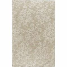 Damask-print wool rug in ivory. Handmade in India.         Product: Rug    Construction Material: 100% Wool    Color: IvoryFeatures: Hand-woven   Made in India      Note: Please be aware that actual colors may vary from those shown on your screen. Accent rugs may also not show the entire pattern that the corresponding area rugs have.Cleaning and Care:  Professional cleaning recommended