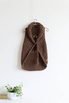 Natural chocolate brown handmade crochet boho wool vest with mandala on the back