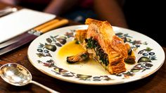 Ocean trout in puff pastry with mussel sauce | This recipe by Sébastien Piel is quintessentially French, featuring ocean trout with puff pastry and Swiss brown mushrooms. The mushrooms give an earthiness to the dish and balance the seafood. Pot-ready black mussels are available from most fishmongers and come already cleaned and bearded for those short on time. Sébastien usually makes his own puff pastry but for ease and convenience we've substituted frozen puff pastry.